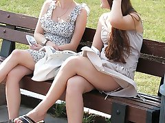 Girls in the park boast hot upskirts