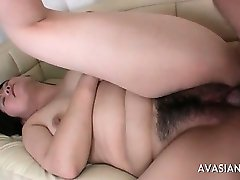 Fingering and fucking her fat hairy pussy