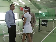 Busty redhead gets pounded by hunk after a game of tennis