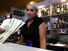 Big tits amateur bartender payed and fucked a