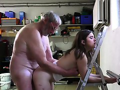 Jolly girl makes old man fuck her hard