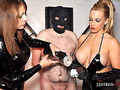 Horny femdoms Mistress Carly and Bex enjoy humiliating these sissy sluts in a cock milking...