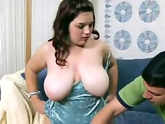 Sween plump mom with big saggy tits & man