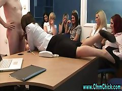 Cfnm group femdom office girls blowjob