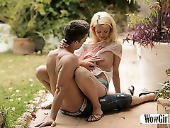 Tight blonde teen Izzy Delphine fucked at the backyard