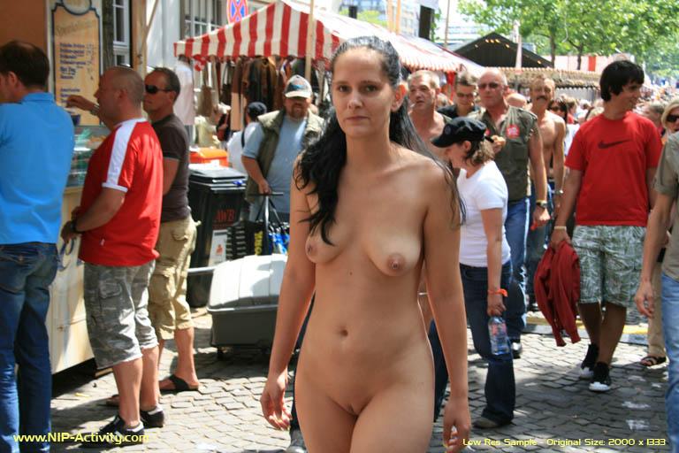 Hot girl have fun in public