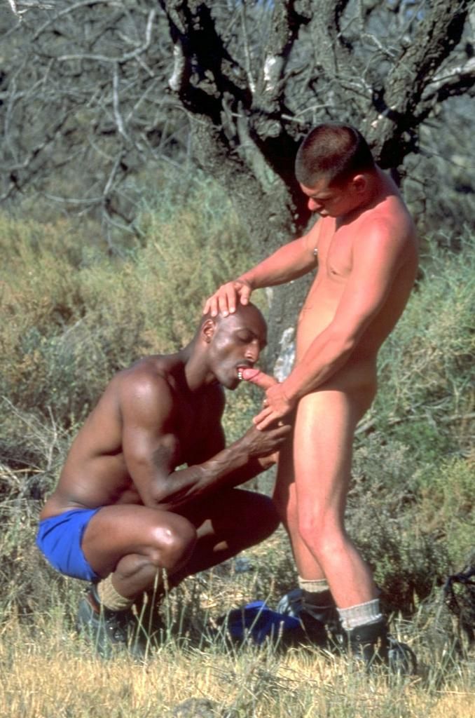 Horny interracial guys outdoor fuck