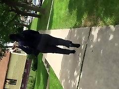 Big juicy booty black MILF in grey dress pants vpl