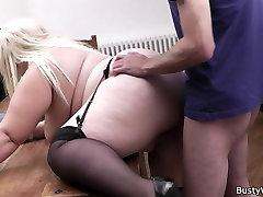 Busty blonde secretary pleases boss