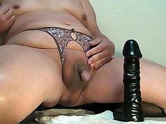 Prostate milking with black big dildo Feb-07-2015