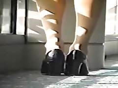 Classic Candid Blonde Dipping Shoeplay Feet in Nude Nylons