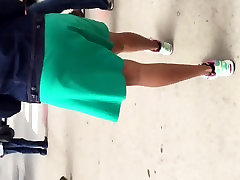 Big booty black MILF in green dress 1