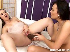 Lesbians with big brutal dildos
