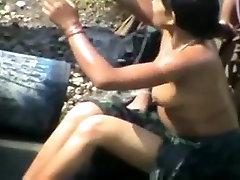 Indian village women bathing nude in open caught