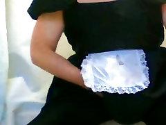 French maid opaque black tights cock cumshot orgasm