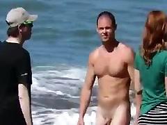 Str8 big dick on beach