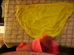 Yellow panties take my load