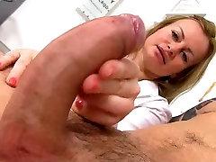 Sexy milf doctor Denisa sperm bank handjob