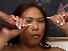 Sexy asian slut likes to suck big cocks