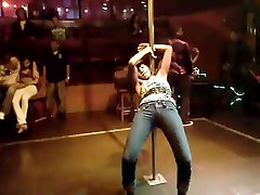 Sexy dancing girl in tight jeans