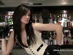 Latex fetish of sexy barmaid Anastasia in high heels