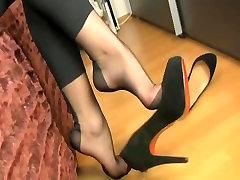 sexy nylon feet tease