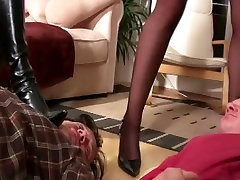 3 Girls Femdom Party at Home in sexy Dress