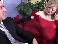 Sexy red dress stockings for cougar TOP MATURE