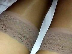 Amateur in Tan Stockings and Pink Panties
