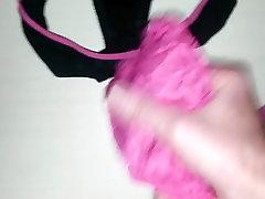 Cumming on black cotton panties