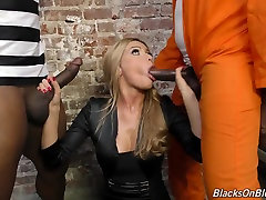 Sexy white chick fucked by two blacks in jail