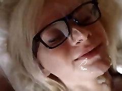 Blond girl likes cum on her face