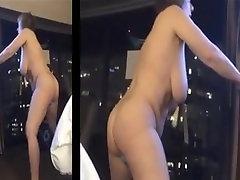 Big Tit Mature stand up Masturbation