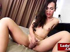 Ladyboy goddess solo bedroom masturbation