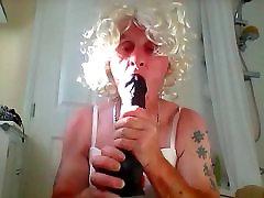 sissy ken sucks his dildo in white lingerie