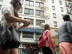 Asian Babe Booty Shorts Stroll