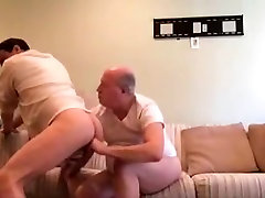 Dad suck his son cock then play with his ass