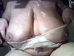 Big tits amateur BBW fooling around
