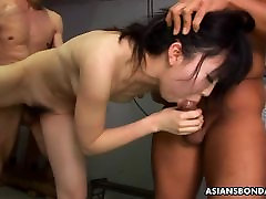 Humiliated Asian babe getting fucked by the two gays
