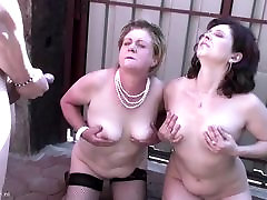 Son fucks and piss on two mature slut moms