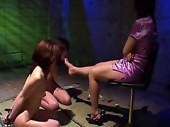 two asian lesbian slave worship feet