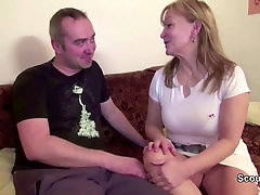 He Seduce Mom With hairy Pussy to Fuck and Covered with Cum