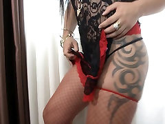 Latin tranny with thirsty cock and ass