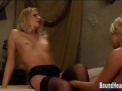 Blonde Slave Undressing Lesbian Mistress