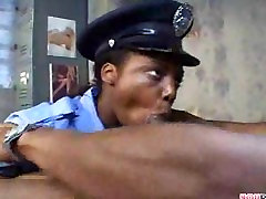 Natural ebony teen reenforcing the law!