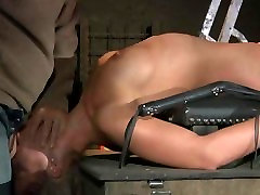 Silicone sex toy slave tied and punished in the attick