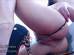 Fitness babe cream playing, dressing and masturbating - Big clit