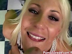 Blonde Euro Babe Puma Swede Sucks Big Cock For Cum!!