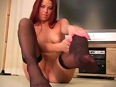 Kelly Tyler Black Nylon Stocking Foot Tease Feet
