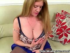 British milf Lily fucks herself with a dildo